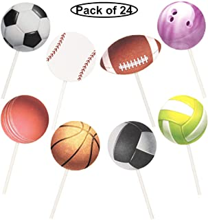 Pack of 21 Football Baseball Cupcake Toppers Picks Sports Theme Party Supplies