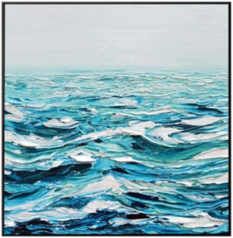 HBHBS sobre lienzo pintado a mano Pintado A Mano Olas Abstractas del Océano Pintura sobre Lienzo Decoración De La Parojo Cuadros De La Pintura para El Hogar Decoración En Vivo 60x60CM (24X24in)