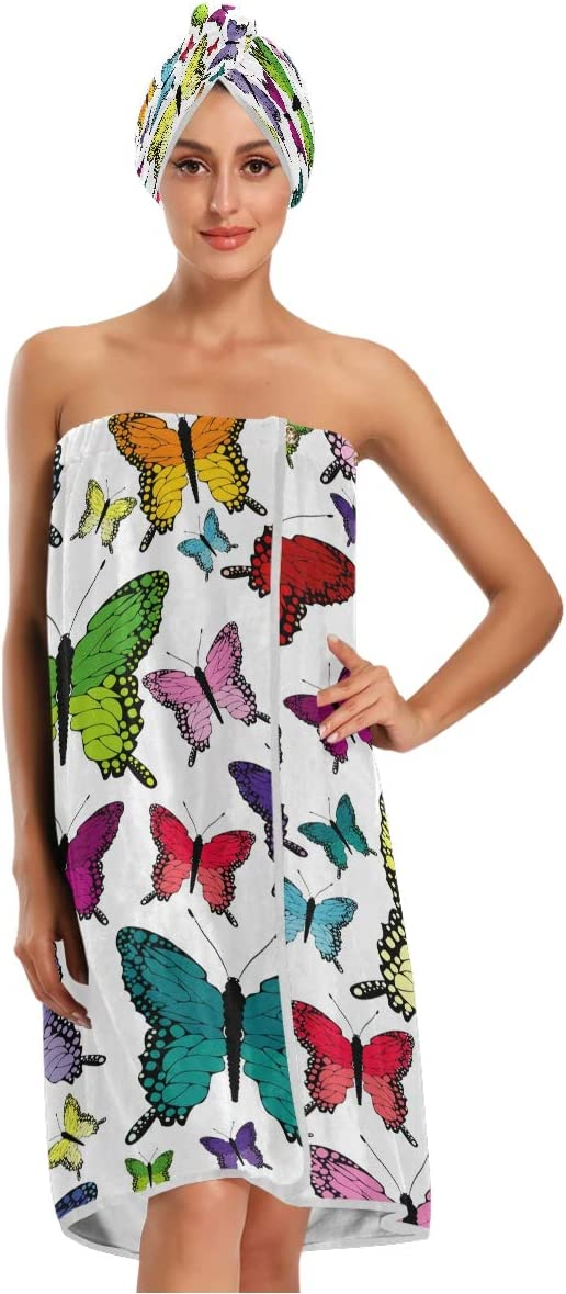 KEEPREA Colorful Butterflies Towel Wrap Dry Max 51% OFF Head Over item handling ☆ with Cap Hair