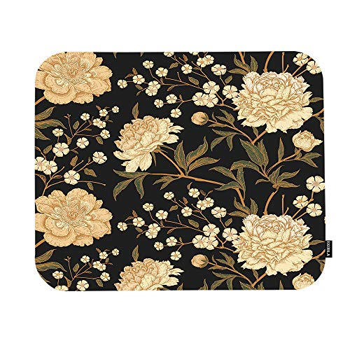 EKOBLA Retro Floral Mouse Pad Vintage Style Peony Spring Summer Wildflowers Leaves Oriental Gaming Mouse Mat Non-Slip Rubber Base Thick Mousepad for Laptop Computer PC 9.5x7.9 Inch