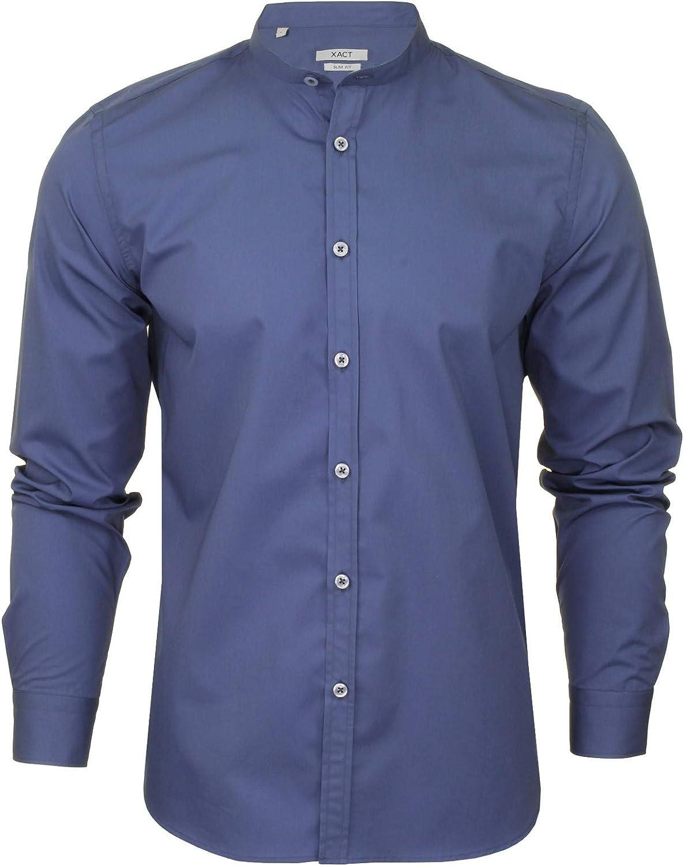 Xact - Camisa de popelín para hombre con cuello abuelo (manga larga), color negro