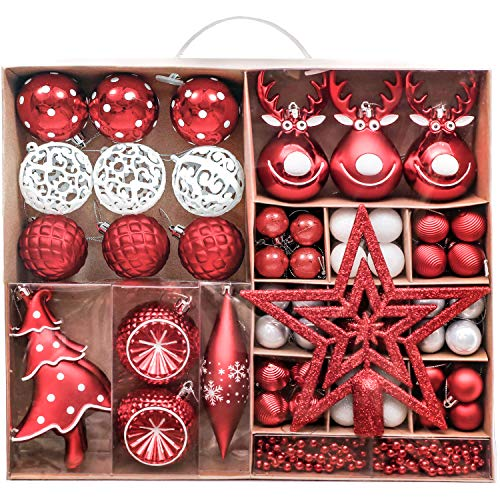 Victor's Workshop 92Pcs Bolas de Navidad Set, Adornos de Navidad para Arbol, Decoración de Bolas de Navideños Inastillable Plástico de Rojo y Blanco, Regalos de Colgantes de Navidad (Oh Ciervo)