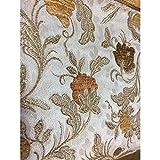 Broccato velluto fiori raso x tappezzeria double face 50 centimetri alto 280 cm - Giallo Oro