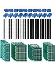 60 stuks PCB-boardkit, 20 stuks dubbelzijdige printplaten prototype universele platen 20 stuks 2/3 pin schroefklem voor printplaten 20 stuks stekker/bus. voor Arduino DIY solderen