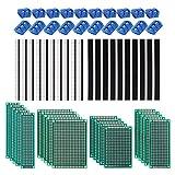 Kit de 60 placas PCB, 20 placas de circuito impreso de doble cara, prototipo, placas universales, 20 unidades de 2/3 pines para placas de circuito, 20 conectores macho/hembra, para soldadura DIY