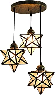 HAIXIANG Scrub Frosted Glass Moravian Star Pendant Lamp Ceiling Lighting Chandelier LED Iron Art 3 Lights Round Base Light Fixtures Bedroom Dining Room Living Room Office Restaurant Bar Cafe