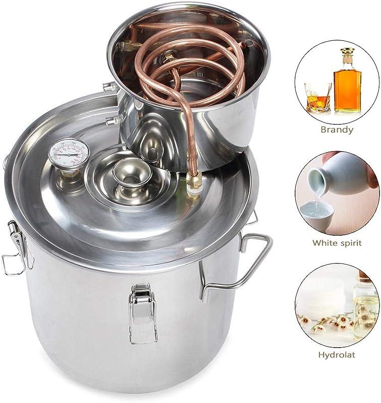 HiHydro Home Water Alcohol Distiller 3 Gallon 12 Liter Copper Moonshine Still Kit Stainless Steel Spirits Boiler