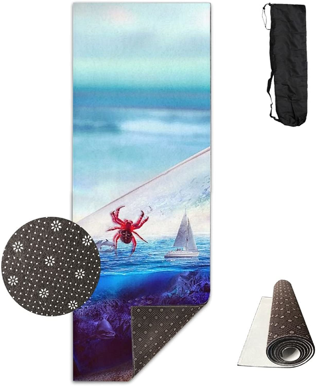 Yoga Mat Non Slip 24  X 71  Exercise Mats Beach Crab Premium Fitness Pilates Carrying Strap