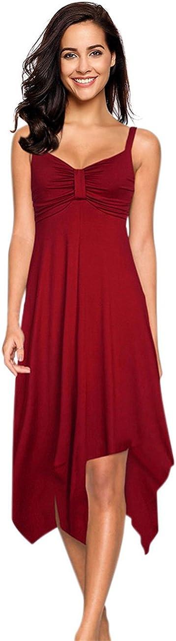 Leadingstar Spasm price Women's V Neck Strap Hem Dress Long Beach Mall Casual Irregular