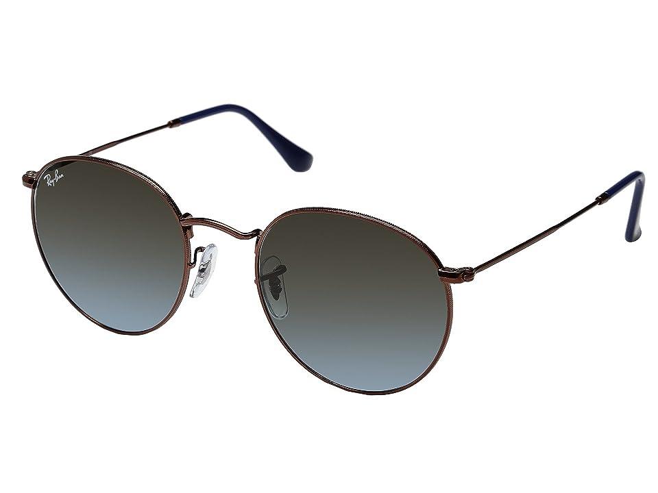 Ray-Ban 0RB3447 Round Metal Classic 53mm (Dark Bronze/Blue Gradient) Fashion Sunglasses