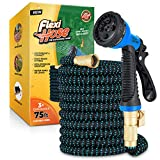 Flexi Hose with 8 Function Nozzle, Lightweight Expandable Garden Hose, No-Kink Flexibility, 3/4 Inch Solid Brass...