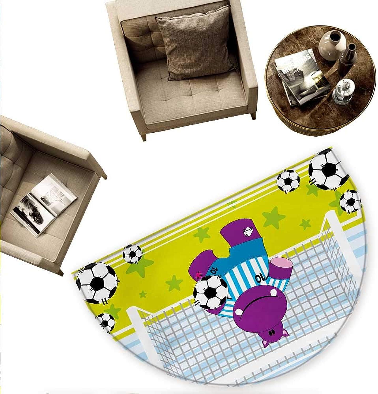 Sports Half Round Door mats Cute Hippopotamus Soccer Goal Keeper Football Play Cartoon Print Bathroom Mat H 70.8  xD 106.3  Apple Green Baby bluee Purple