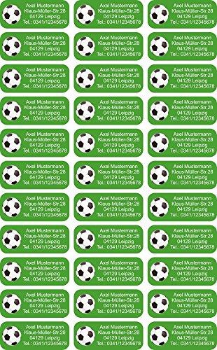 INDIGOS UG® Namensaufkleber Sticker - 56x23 mm - personalisiert - 012 - Fußball - 99 Stück für Kinder, Schule und Kindergarten - KITA Adressaufkleber für Stifte, Federmappen, Briefe