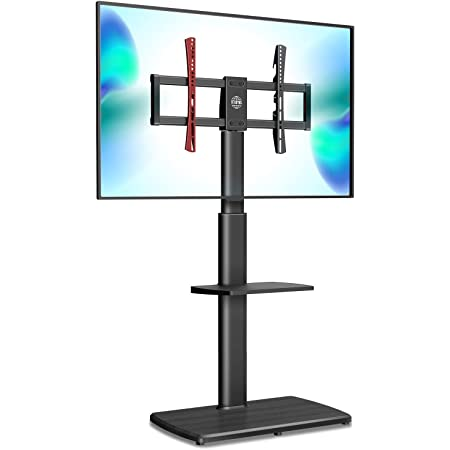FITUEYES TV Stand Tall Corner TV Stands for Most TVs up to 65 Inches Swivel TV Mount Stand with Height Adjustable Shelf Upgrade Sturdy Wood Base