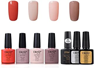 Elite99 Esmalte de Uñas Semipermanente Uñas de Gel UV LED Kit de Manicura 7pcs con Base Coat Top Coat de Brillo y Top Coat...
