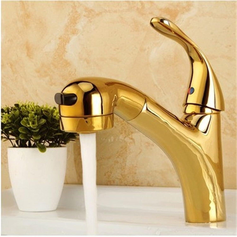 AQMMi Wasserhahn Waschtischarmaturen Ziehen Sie Warmes Und Kaltes Wasser Messing Antik Antik Gold Waschtischarmatur Badezimmer Waschbeckenamatur