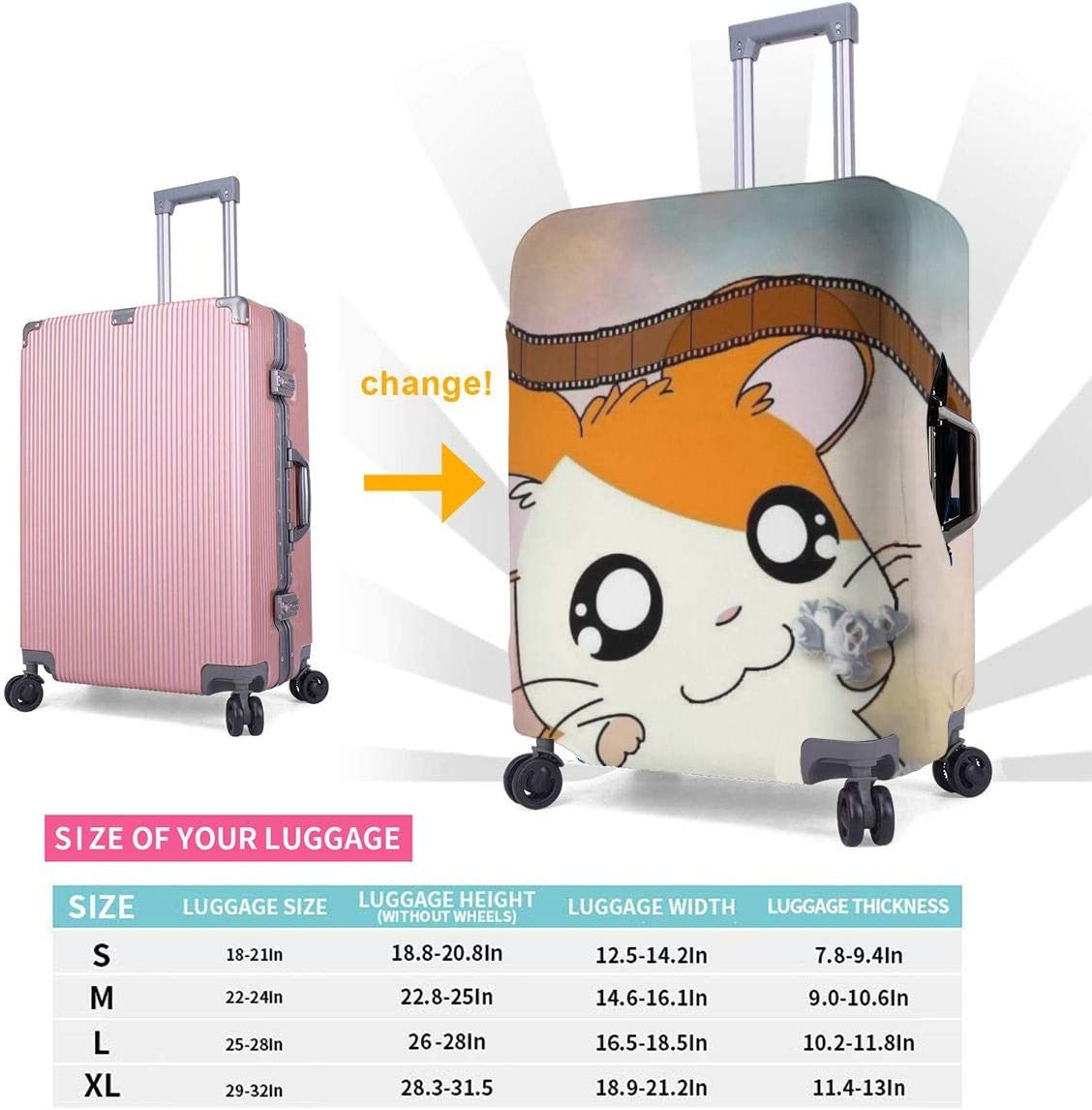 Suitcase Cover Anime Hamtaro Trolley Travel Luggage Covers Suitcase Protector Washable Baggage Cover L