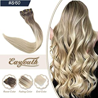 Easyouth 22inch Remy Clip in Hair Extensions Human Hair Color 8 Fading to 60 Balayage Dip Dyed Extensions 120g 7 Pieces Straight Hair Clip in Balayage Hair Extensions