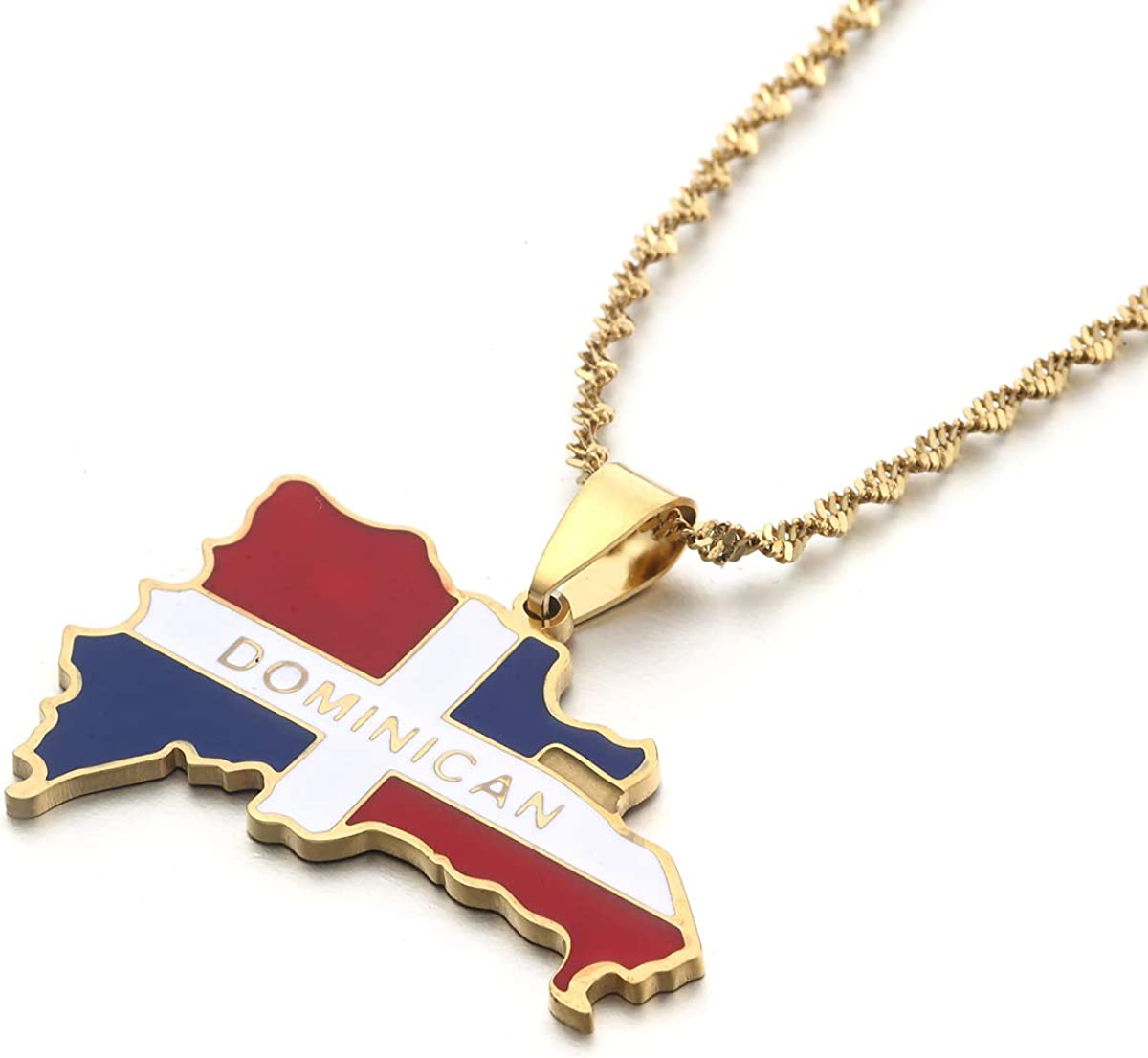 Stainless Steel Enamel The Dominican Republic Map Pendant Necklace for Women Gold Color Jewelry Map of Dominican