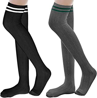68bf877e2c4 HIPPIY Over Knee High Socks Women Girls Long Cotton Striped Stockings Thigh- high Leg Warmers