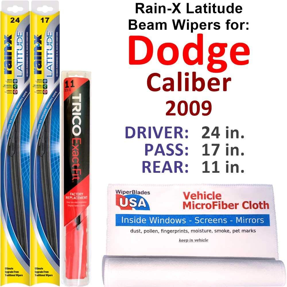 Rain-X Latitude Beam Wipers Super sale period limited Ranking TOP11 for 2009 w Set Dodge Ra Rear Caliber