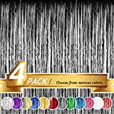 BTSD-home Black Foil Fringe Curtain, Metallic Photo Booth Backdrop Tinsel Door Curtains for Wedding Birthday Bridal Shower Baby Shower Bachelorette Christmas Party Decorations(4 Pack, 12ft x 8ft)