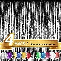 BTSD-home ホイルフリンジカーテン メタリックフォトブース ティンセル 背景 ドアカーテン 結婚式 誕生日 ベビーシャワー バチェロレッテ パーティー装飾 (4パック)