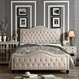 Rosevera Turin Upholstered High-Profile Footboard Panel Bed, King, Beige, Size