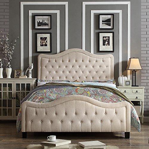 Rosevera Turin Upholstered High-Profile Footboard Panel Bed, King, Beige