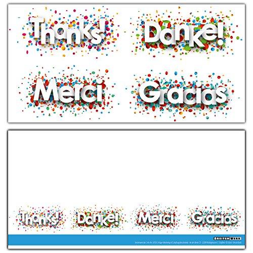 12 Dankeskarten im Set - die modernen Danke-Karten sind ideal als Brief oder Postkarte nach Hochzeit, Baby, Geburtstag, Taufe - von BREITENWERK®