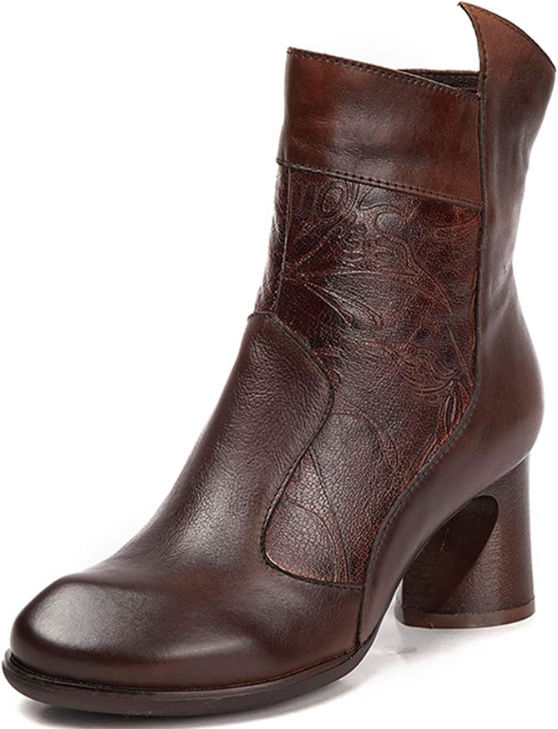 Women's Martin Boots Leather Round Head high Heel Boots Thick with Side Zipper Ethnic Style Retro Carved Pattern Decorative Single Boots