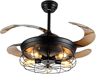 Ceiling Fan with Light Industrial Ceiling Fan Retractable Blades Vintage Cage Chandelier Fan with Remote Control-5 Edison ...