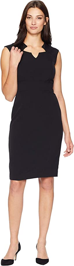 Sleeveless Dress with Topstitching Detail