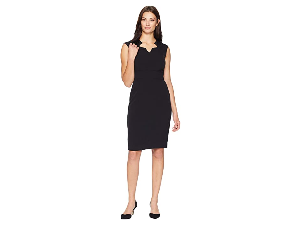 Tahari by ASL Sleeveless Dress with Topstitching Detail (Black) Women