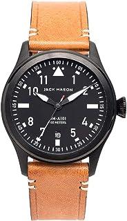 Jack Mason Men's Watch Aviator Tan Italian Leather Strap JM-A101-005