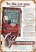 金属記号ラルストン朝食食品インチレトロな装飾ティンサインバー、カフェ、アート、家の壁の装飾
