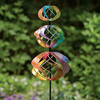 Bits and Pieces - Multi-Color Rainbow Shimmering Triple Mini Kinetic Wind Spinner - Metal Outdoor Windspinner Sculpture Lawn, Garden, and Yard Decor
