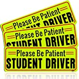 BOKA Student Driver Magnet, Honeycomb Reflective Please Be Patient New Driver Magnet for Car, Rookie Novice Driver Magnetic Safety Sign, Teen Beginner Driver Vehicle Bumper Sticker,10×3.5in,3 Pack