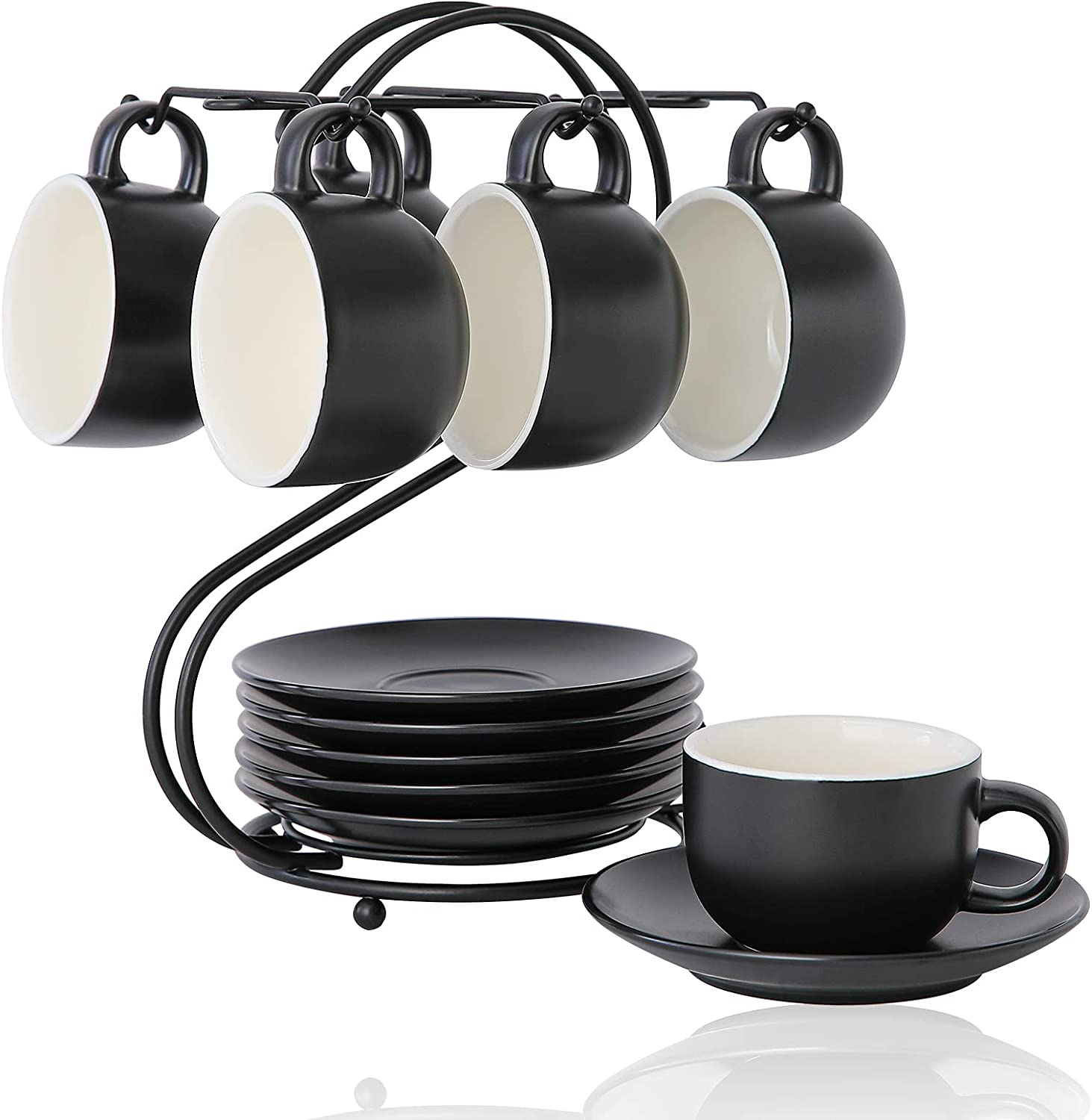 Porcelain Expresso San Jose Mall Cups 4.5oz with Choice Metal Saucers Candi Stand