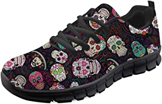 Lightweight Go Easy Walking Sneakers Sugar Skulls Lace Up Jogging Flats
