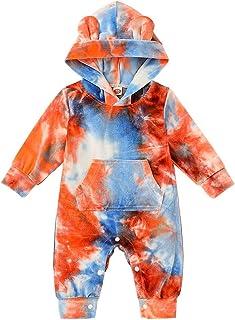 T TALENTBABY Neugeborenes Baby Mädchen Langarm Bodysuit Gedruckt Floral Strampler  Floral Hut  Bow Stirnband Outfits Kleidung Set