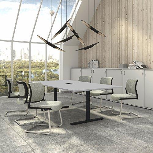 Weber Büro Easy Konferenztisch 240x120 cm Lichtgrau mit ELEKTRIFIZIERUNG Besprechungstisch Tisch, Gestellfarbe:Anthrazit