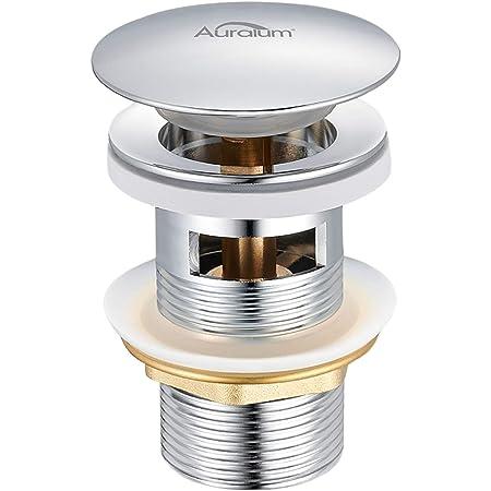 Auralum - Tapones de Desagüe Lavabo Pop-Up Universal Válvula Desagüe Cromado con Rebosadero Desagüe Clic-Clac con Rebosadero para Lavabo