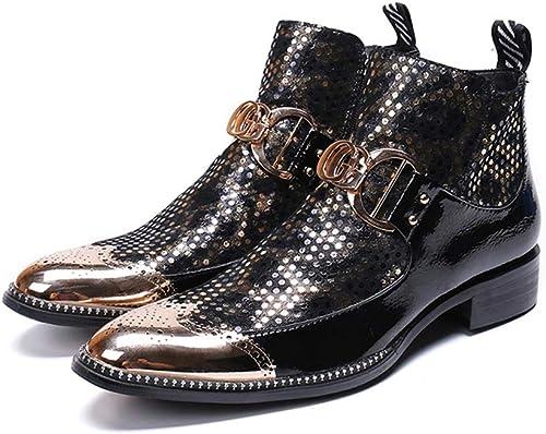 Mr.Zhang's Art Home Men's zapatos Botines de Invierno de Hombre Puntiagudo zapatos de Hombre negro cálido.