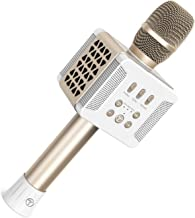 TOSING 20W Wireless Bluetooth Karaoke Microphone,Sing Song,Practicing Song, lisening Song,Recording Song 4-in-1 Portable Handheld Karaoke Mic Speaker Machine for iPhone/Android/iPad (Champagne)