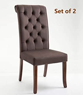 Rhomtree Velvet Fabric Dining Chairs Set of 2 Button Tufted Kitchen Chairs Padded Side Chairs with Solid Wood Legs Dining Room Chair (Brown)