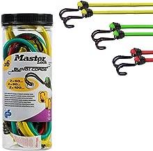 Master Lock 3106EURDAT Lot de 4 tendeurs en caoutchouc avec doubles crochets invers/és 80 cm