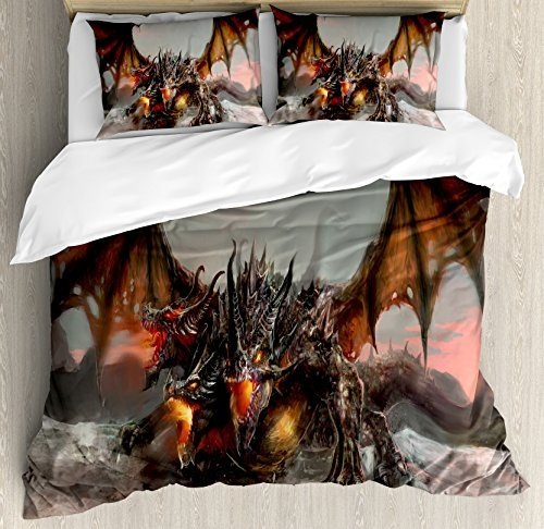 Ambesonne Fantasy World Duvet Cover Set, Illustration of 3 Headed Breathing Dragon Large Monster Gothic Theme, Decorative 3 Piece Bedding Set with 2 Pillow Shams, Queen Size, Brown Grey