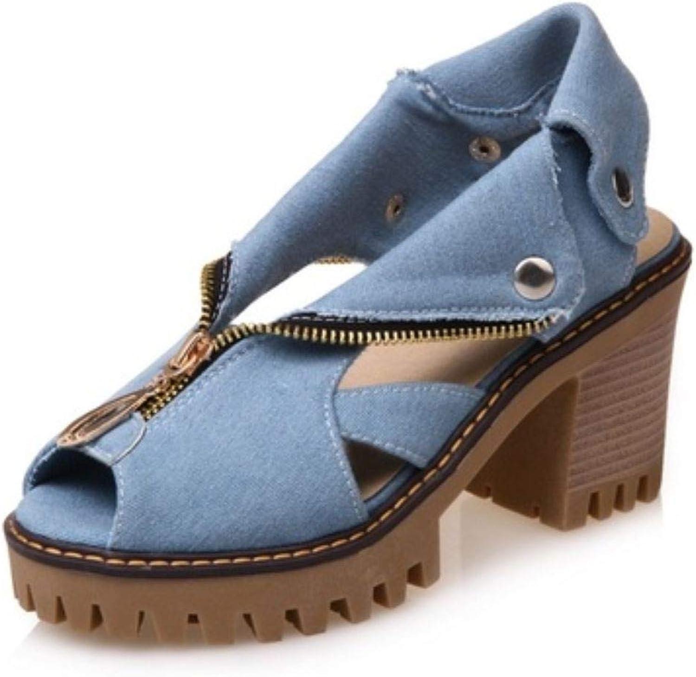Jc-factory Bohemian Women's Zipper Rivet Denim Sandals Comfort Wedge Sandals