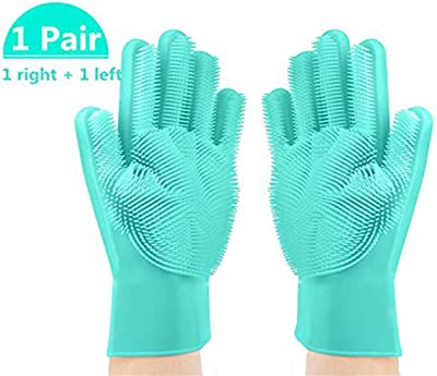 PC SQUARE Cleaning hand Gloves Magic Silicone Dish Washing Safety Gloves Scrubber with Wash Sponge Reusable Warm Dish Washing Pet Bathing Fruit Vegetable Scrub Brushes for Kitchen Bathroom Multi color